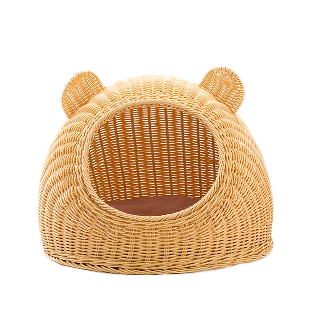 Beige 40×30cm Beige 40×30cm KL Cat Nest Semi-closed Summer Rattan Pet Dog Nest Cat Supplies Breathable Easy To Clean Cat House (beige) (color   Beige, Size   40×30cm)
