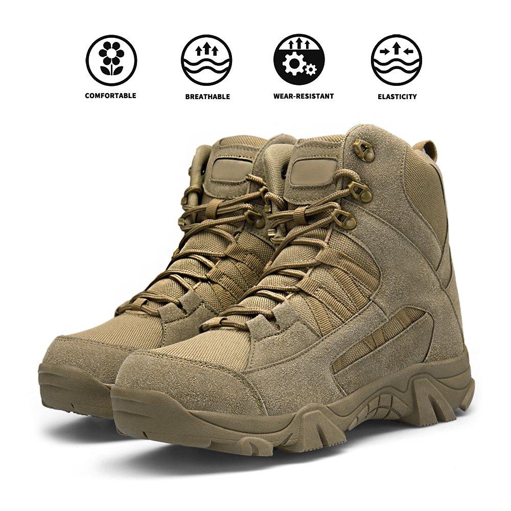 ENLEN&BENNA Men's Desert Boots Tactical Combat Boots Military Boots Tan Composite Toe Side Zipper Lightweight Brown by ENLEN&BENNA (Image #2)