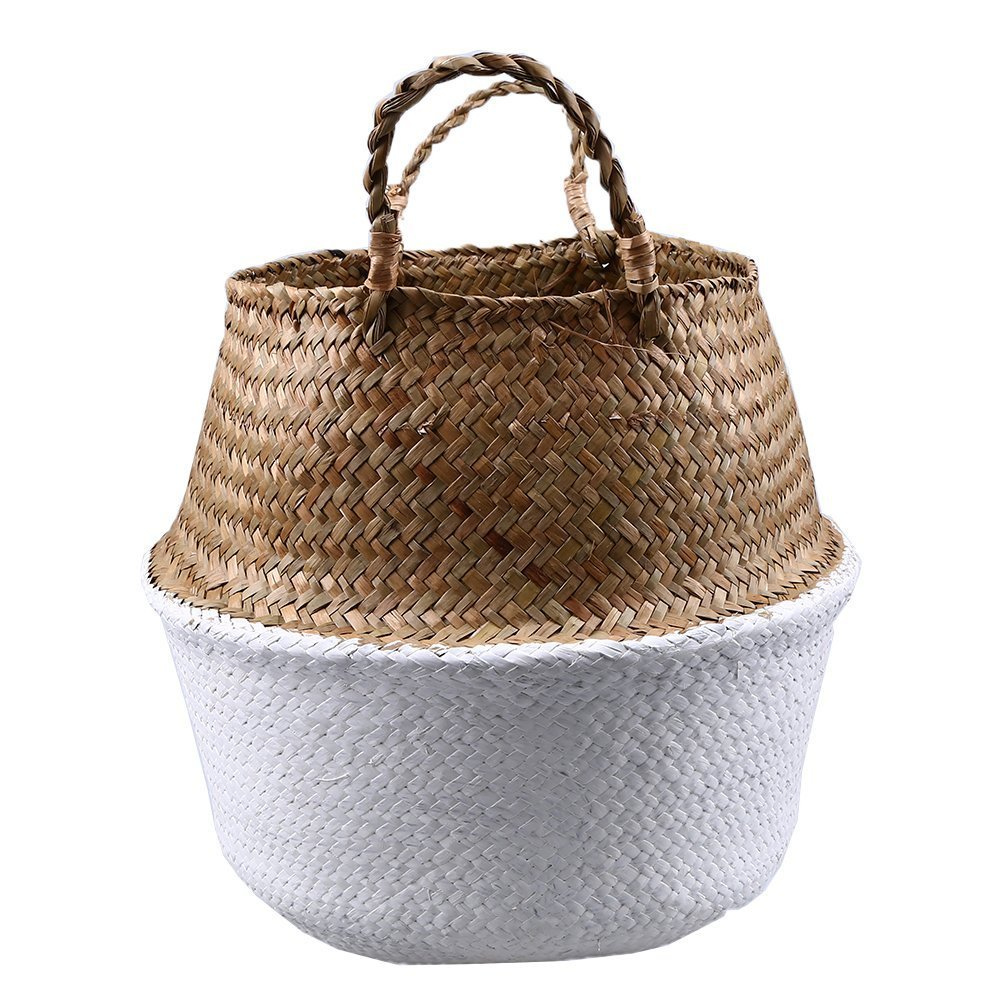 CENDGOOD Natural Seagrass Woven Basket Bin Hamper Collapsible with Handles for Storage Plant Pot White S(18 x 20.5cm)