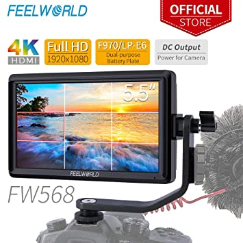 FEELWORLD FW568 5 5 inch DSLR On Camera Field Monitor Small Full HD  1920x1080 IPS Video Peaking Focus Assist with 4K HDMI 8 4V DC Input Output  Include