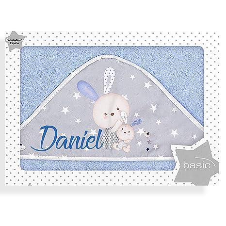 Capa de Baño para Bebé Personalizada con Nombre, modelo Rabbit Azul