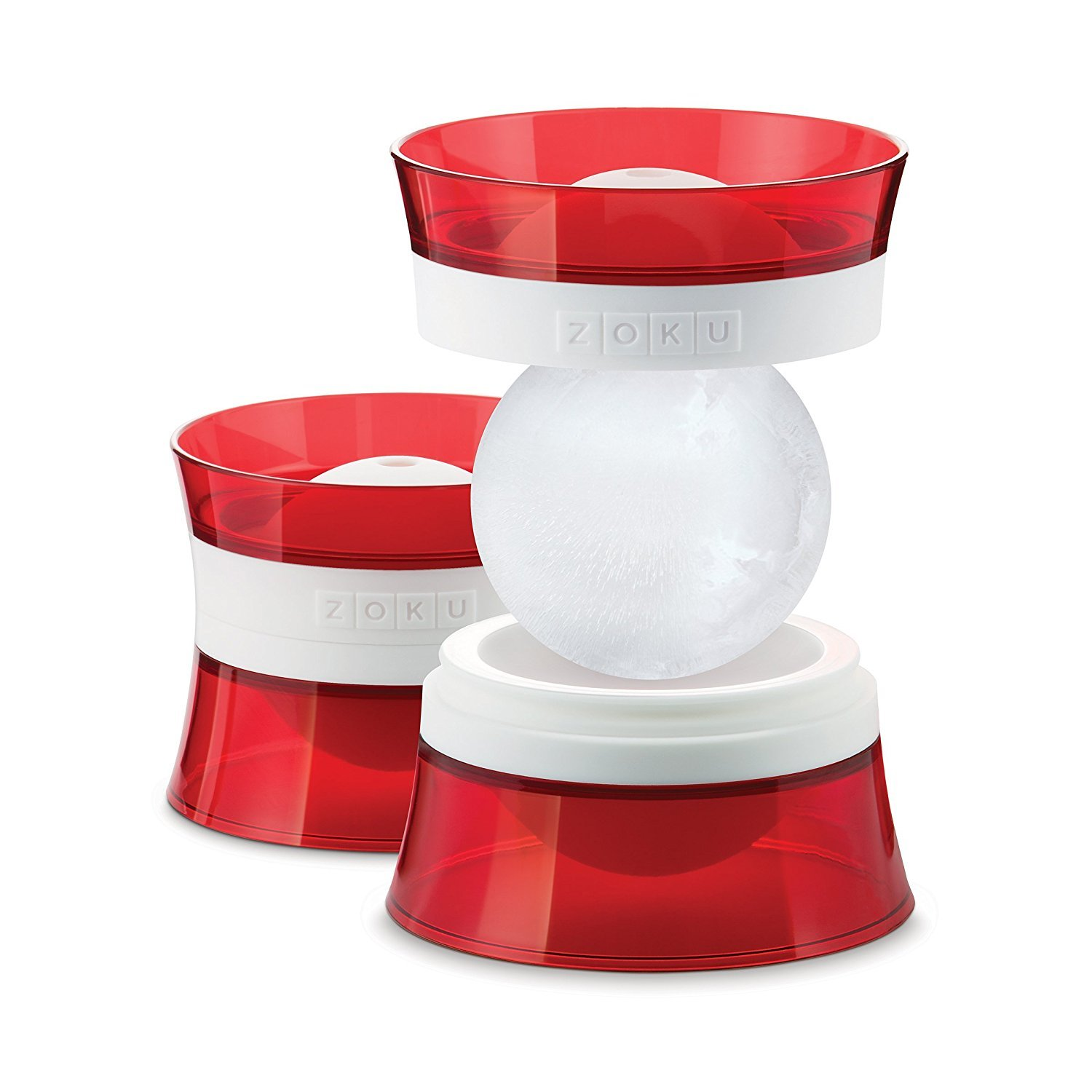 Set of 2/ Molds, Red and White ZK118 Zoku Ice Balls
