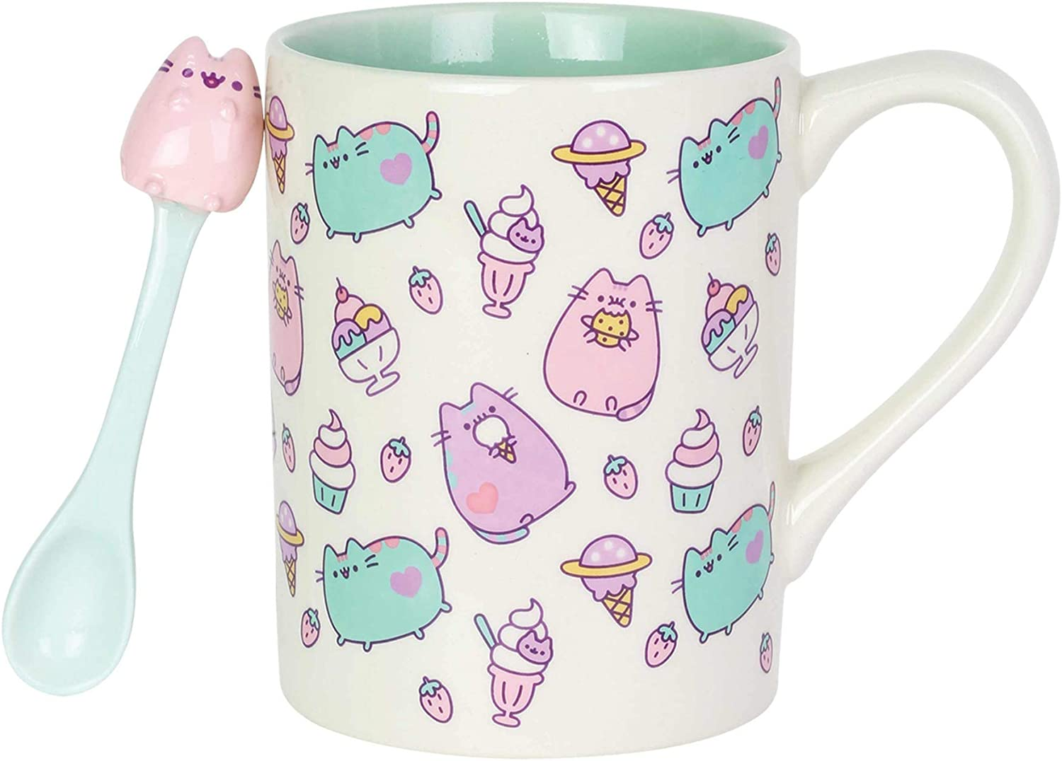 Enesco 6004628 Pusheen by Our Name is Mud Sweets Coffee Mug with Spoon, 16 oz, Multicolor