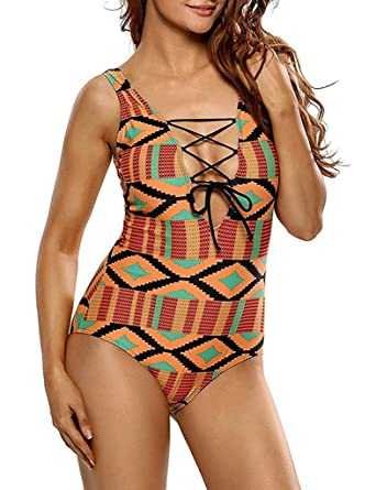 87e7d73e64831 Knight Horse Womens Tropical Tribal Print Sexy High Cut Padded One Piece  Swimsuit Red Medium