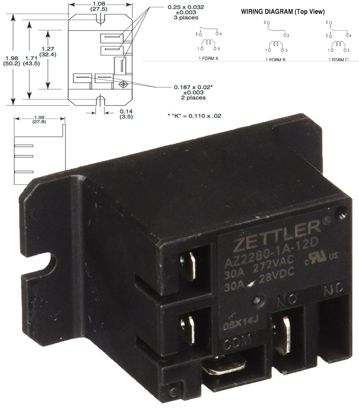 American Zettler Power Relay for Atwood 93849 Water Heater Relay Kit on