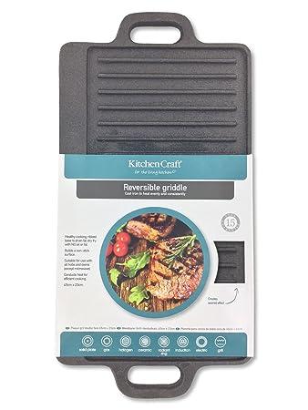 Kitchen Craft Deluxe Grillplatte Aus Gusseisen Amazon De Kuche