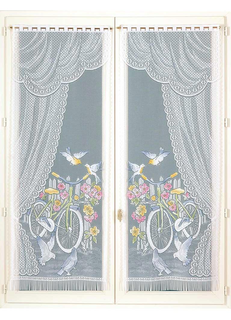 HomeMaison Paire de Vitrages Frangés Esprit Champêtre, Polyester, Peint, 120x60 cm HM6930A127