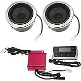 KKmoon Altavoz Aistema Audio, 12V 40W para Scooters Universales Impermeable Pantalla LED / Ranura Tarjeta TF / Puerto USB / Radio FM