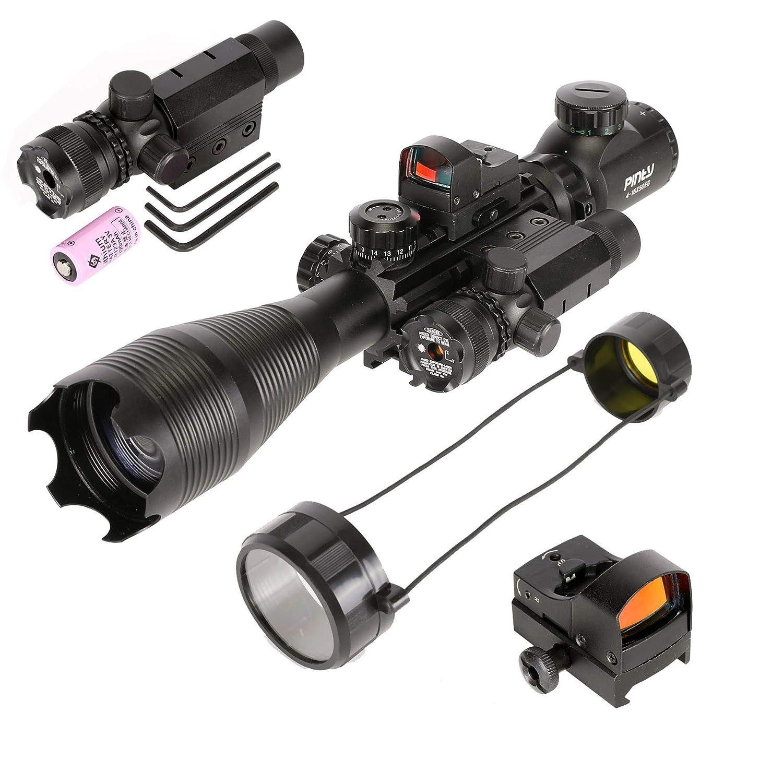 Pinty Rifle Scope 4-16×50, Illuminated Optics, Green Laser, Red-Coating Reflex Mini Sight
