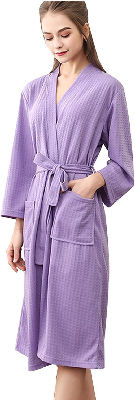 SUIMO - Albornoz Grueso de Invierno Otoño Bata de Baño Kimono Unisex para Hombre Mujer Ropa de Dormir Pijama para Hotel Casa Piscina - Rosa Violeta Gris Verde