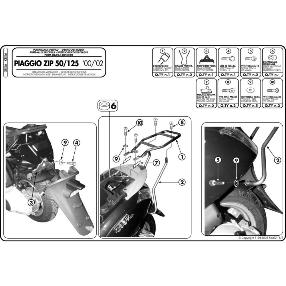Givi SR56 Topcase-Tr/äger f/ür Monolock Koffer 40 Schwarz