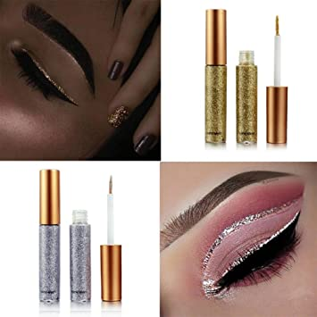 Professional New Shiny Eye Liners Cosmetics For Women Pigment Silver Rose Gold Color Glitter Eyeshadow Glitter Eyeliner Jade White Beauty Essentials