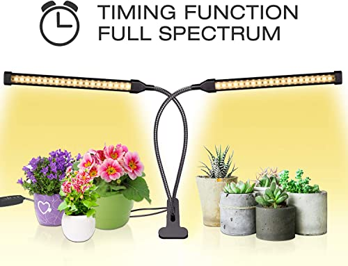 Sondiko Grow Light, Auto ON Off Every Day Full Spectrum Sunlike Grow Lamp with 3 9 12H Timer, Adjustable Gooseneck 10 Dimmable Levels 3 Switch Modes for Indoor Plants