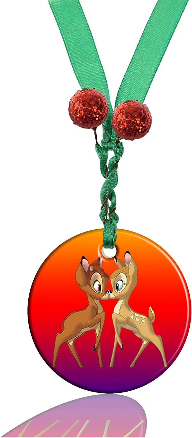 GDEE Custom Bambi Kissing Personalized Round Porcelain Ornaments Christmas Ornaments Home Decoration