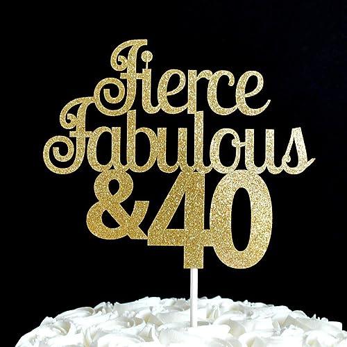 Amazon Com Fierce Fabulous 40 Gold Glitter Paper Birthday Cake