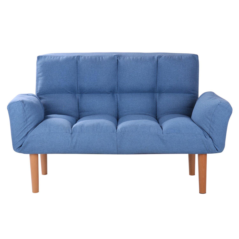 Amazoncom Qvb Blue Small Convertible Futon Sofa Loveseat Folding Futon