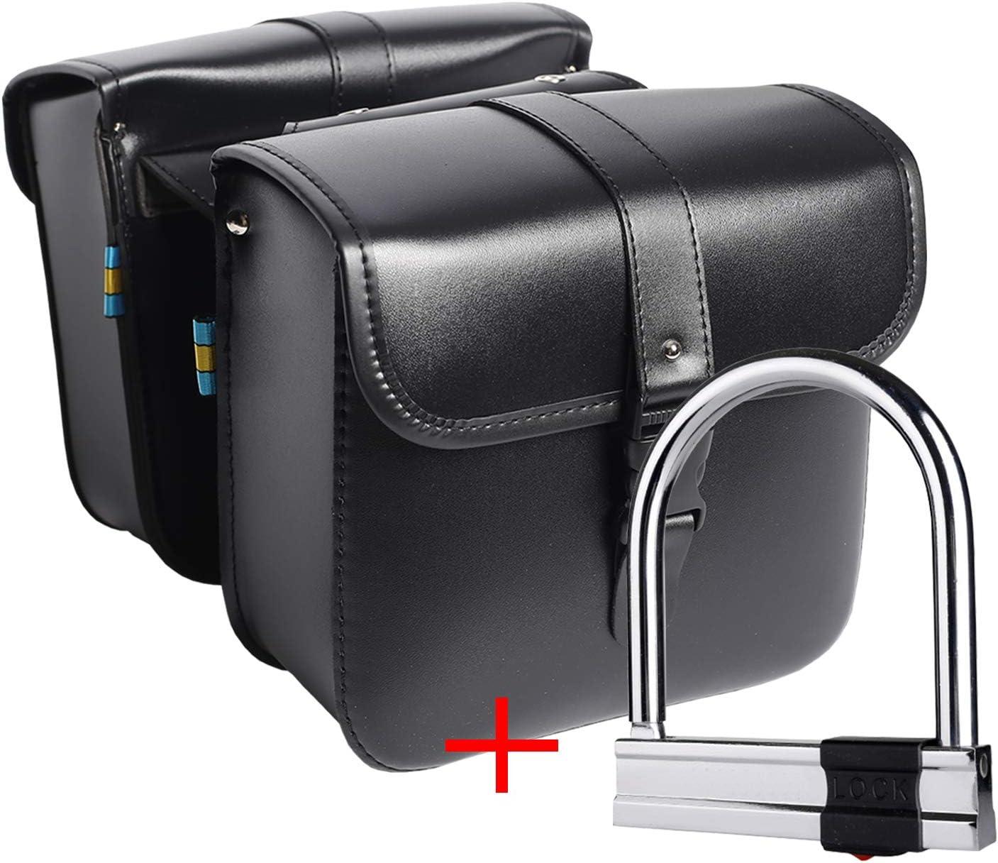 1 par lado de la Motocicleta Alforjas de Cuero de la PU a Prueba de Agua Asiento trasero bolsa de sillín Herramienta de viaje Equipaje de la cola Negro