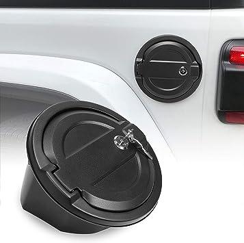 Locking Gas Tank Cap Fuel Filler Door Cover Compatible with 2018-2020 Jeep Wrangler JL /& Unlimited Sport Rubicon Sahara 2-Door 4-Door Design 1