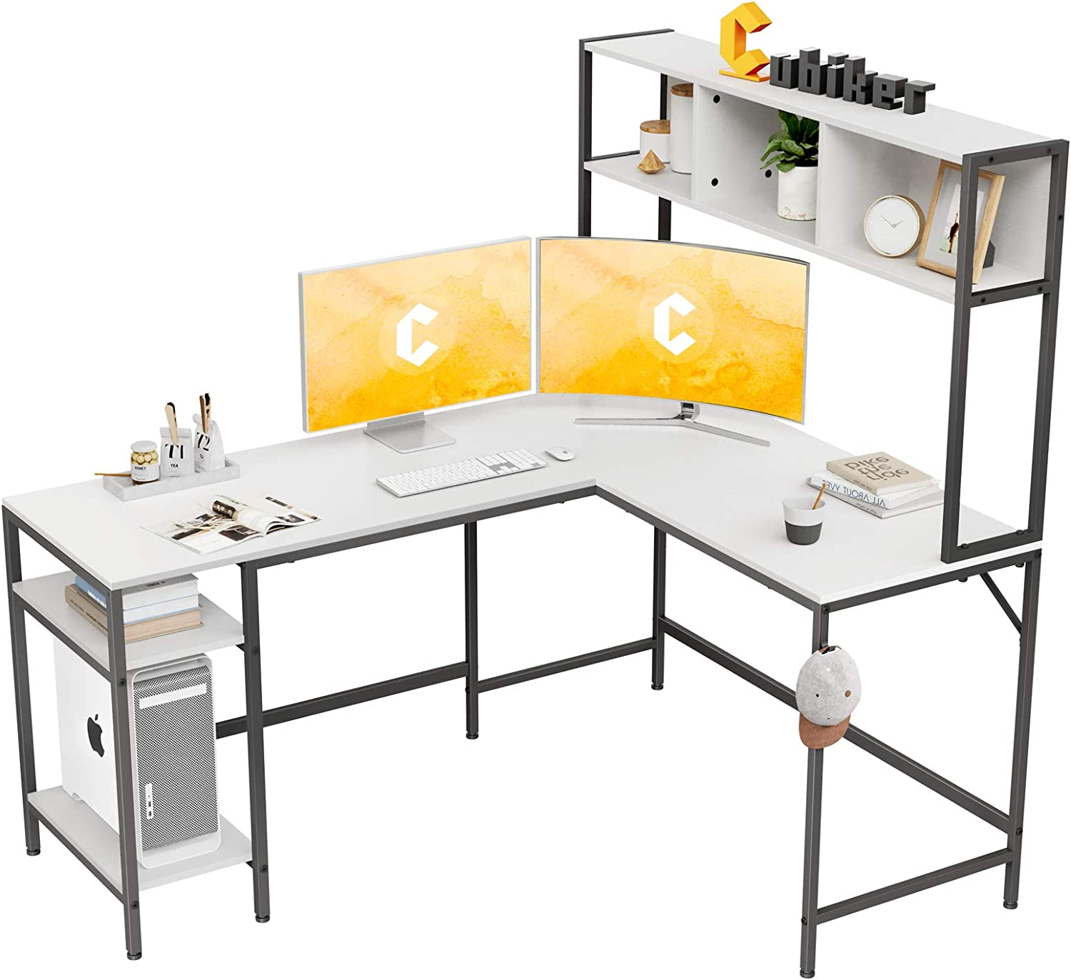 Cubiker L-Shaped Desk with Hutch, 60