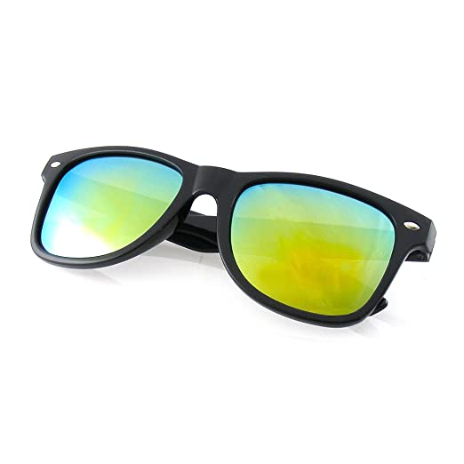 b0794b8435 Amazon.com  Black Flash Mirror Polarized Horned Rim Retro Sunglasses ...