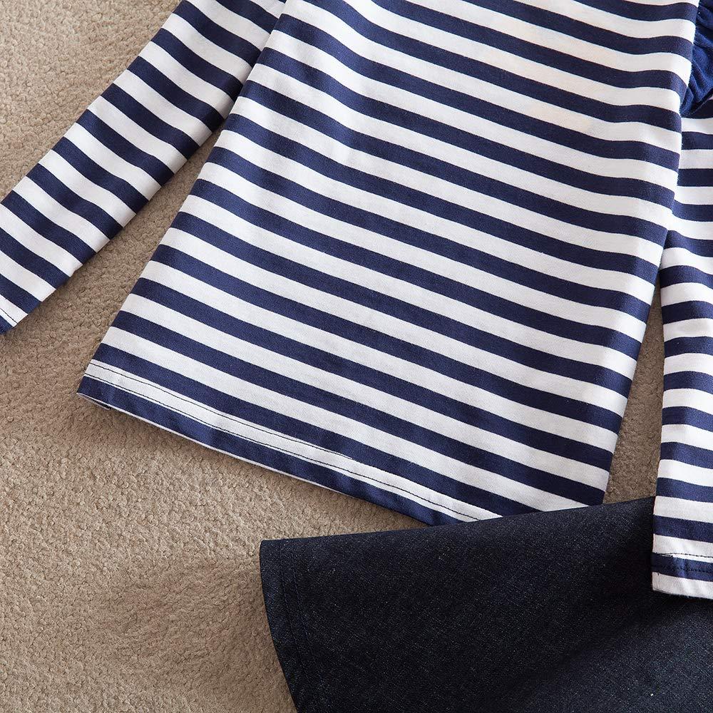 JUXINSU Girls Cotton Long Sleeve T-Shirt Denim Skirt Set for Winter and Autumn 2-7 Years TL612 (Navy, 4T) by JUXINSU (Image #8)