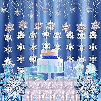 Copos De Nieve Para Decorar Fiesta Frozen.Vamei 48pcs Decoracion Navidena Copo De Nieve Colgante Remolinos Cuerdas De Techo Globos De Papel De Aluminio Para Fuentes Del Tema Congelado
