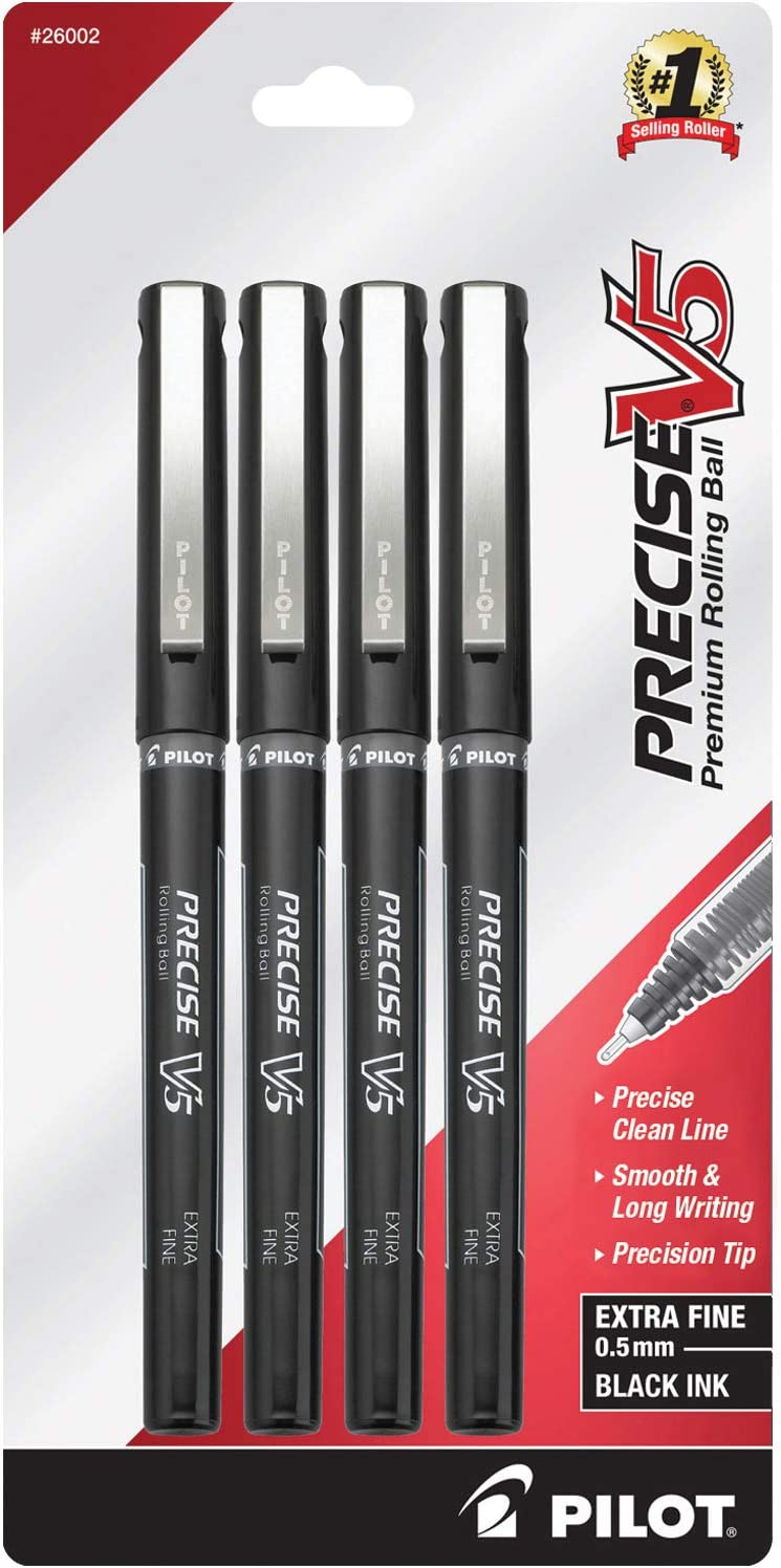 PILOT Precise V5 Stick Liquid Ink Rolling Ball Stick Pens, Extra Fine Point (0.5mm) Black Ink, 4-Pack (26002)