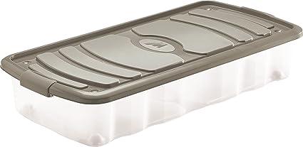 mondex pls516 – 28 Caja de almacenaje bajo Cama con Ruedas y con Tapa plástico Topo