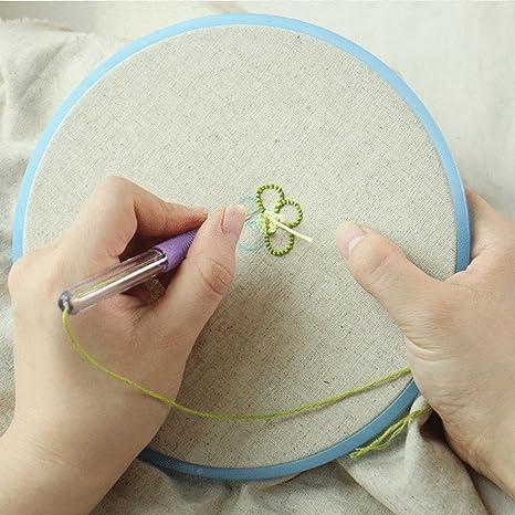 Magic bordado aguja para bolígrafo - sotica Magic Pen Set de bordado, bordado patrones Punch Kit de aguja para tejer threaders herramienta de bricolaje ...