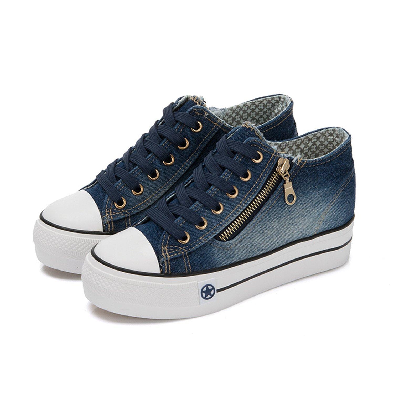 Amazon.com: mrxcff Sneakers de alto plataforma Denim zapatos ...