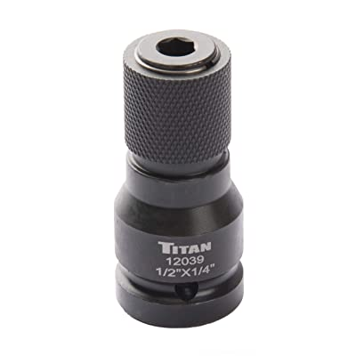 "Titan 12039 1/2"" Drive to 1/4"" Hex Drive Quick Change Adapter"