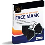 Face Mask - Reusable 100% Cotton 2 Layer Unisex Face Mask - Pack of 3 Black