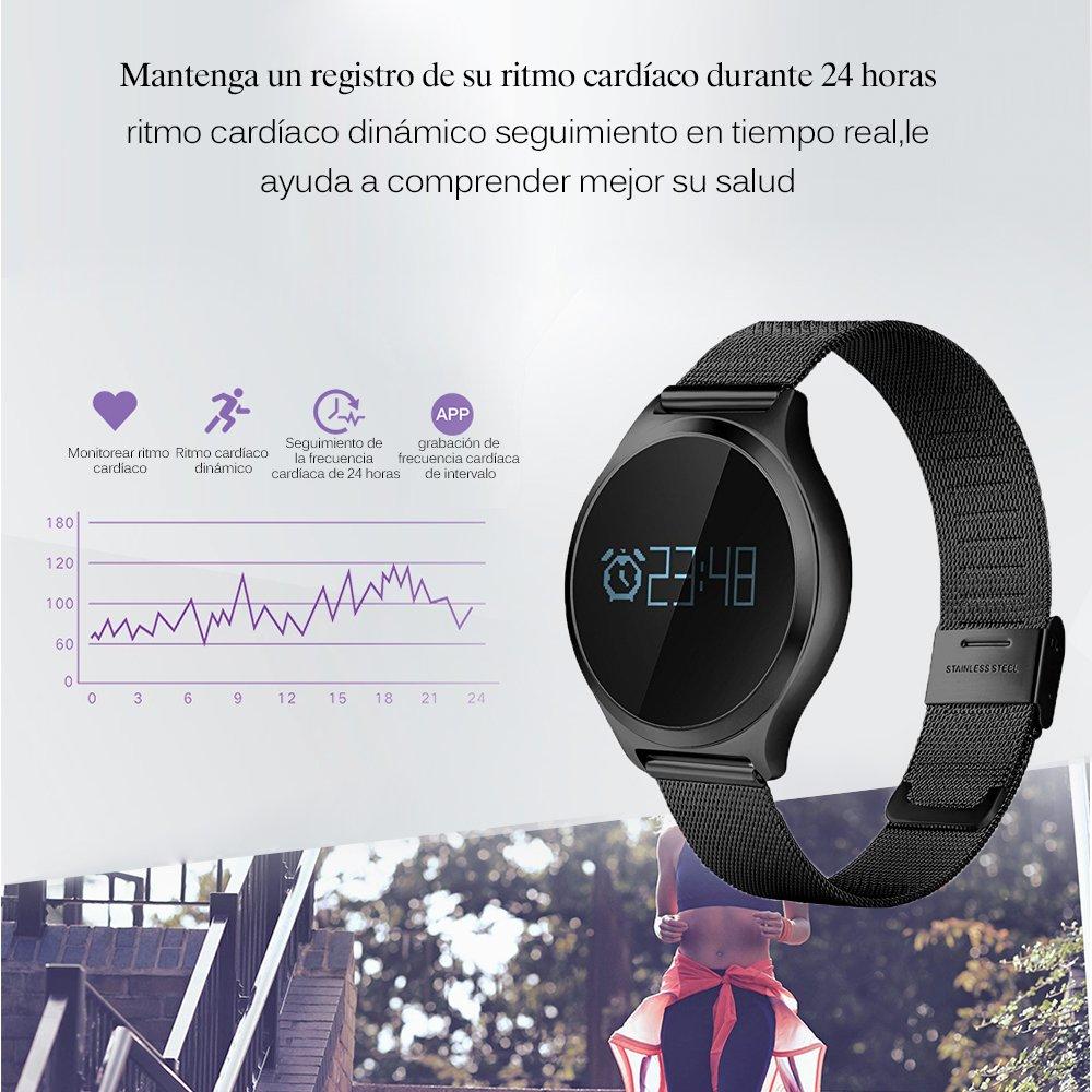 SoloKing Impermeable Reloj Deportivo con Espejo del Zafiro Acero Inoxidable Correa,Fitness Tracker Monitor de Ritmo Cardíaco y el Presión Arterial ...