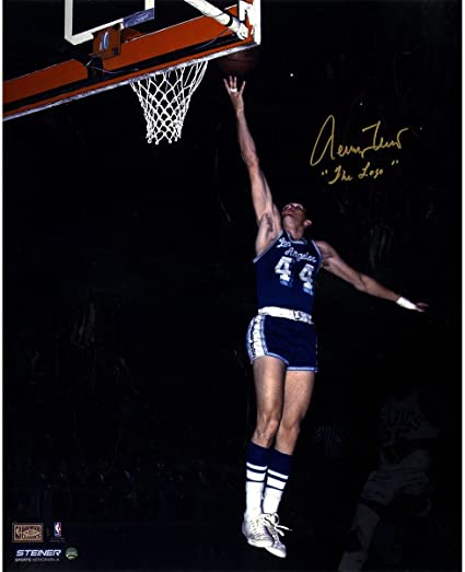 0e28fb849e7 Jerry West Signed Los Angeles Lakers Blue Jersey 16x20 Photo w  quot The  Logo quot