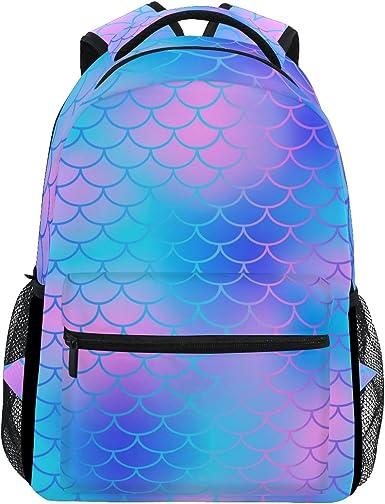 Cute Mermaids Printed Casual Laptop Backpack College School Bag Travel Daypack