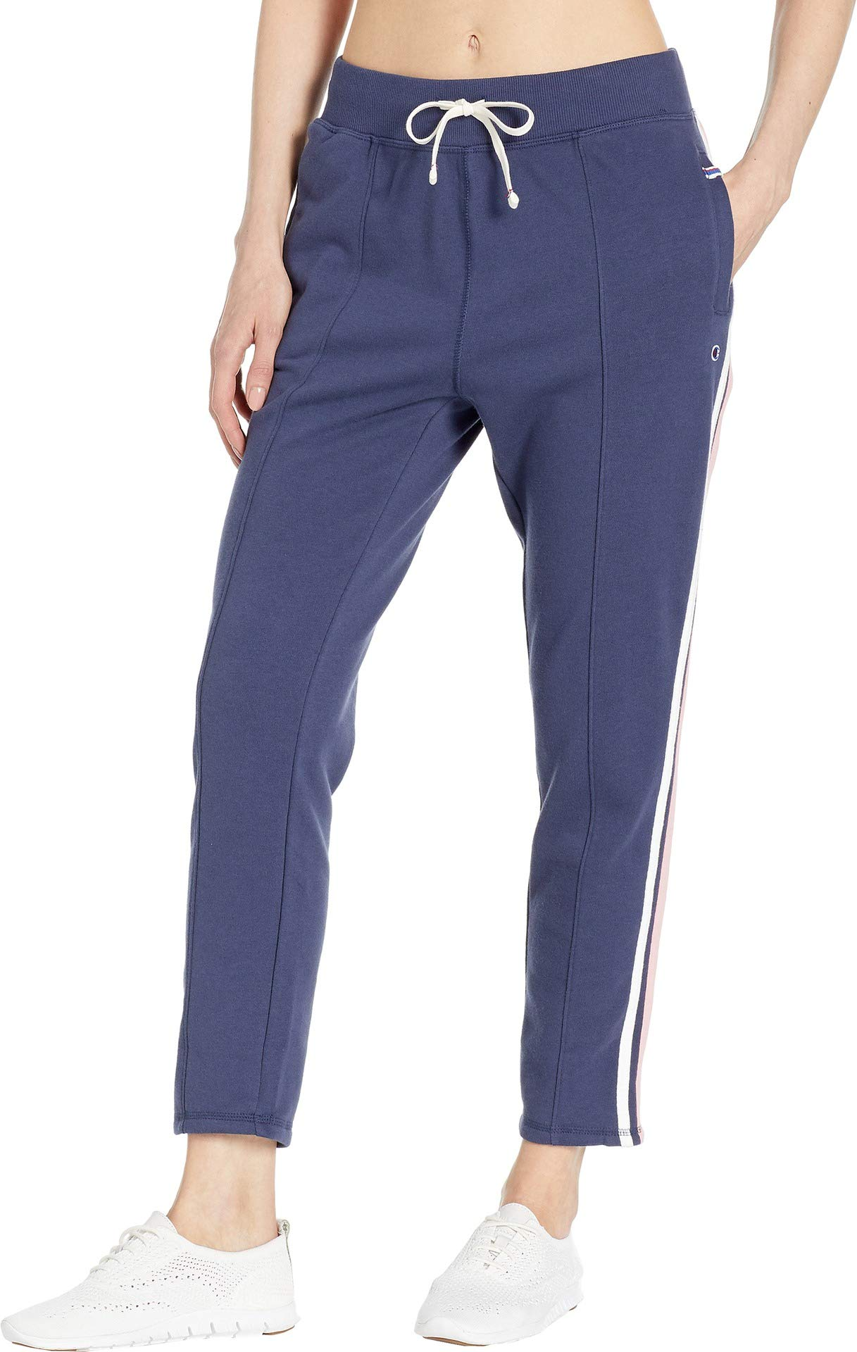 Champion Women's Heritage Warm Up Ankle Pant, Imperial Indigo/Pretty Coral Medium