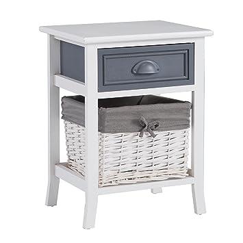 CARO-Möbel Nachttisch Nachtschrank Nachtkommode Florenz in weiß ...