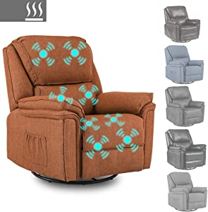 Massage Recliner Chair Sofa with Lumbar Heating Rocker Recliner with 360 Swivel Remote Control 8-Point Vibration for Home Theater Living Room (Fabric Orange)