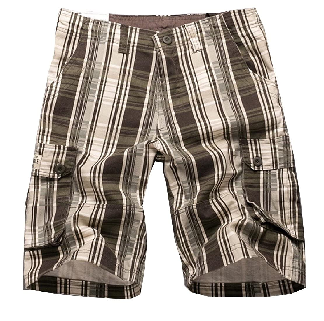 M/&S/&W Mens Loose Summer Fit Multi Pockets Plaid Cargo Shorts