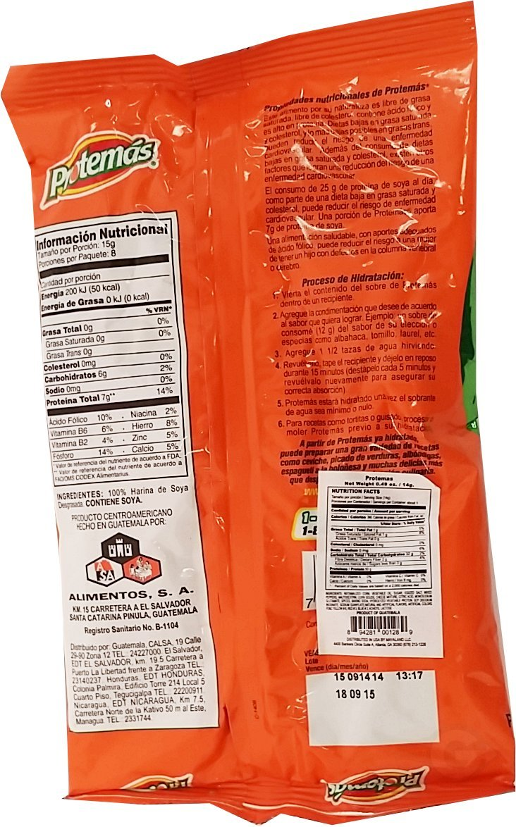 Amazon.com : Protemas Soy Protein 4.2 oz - Proteina de Soya (Pack of 36) : Grocery & Gourmet Food
