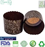"""Paper Muffin Cupcake Mold, Baking Cup Panettone mold 25ct, Non-Stick Mold All Natural FDA Approved (2-3/4"""" x 2-3/8"""")"""
