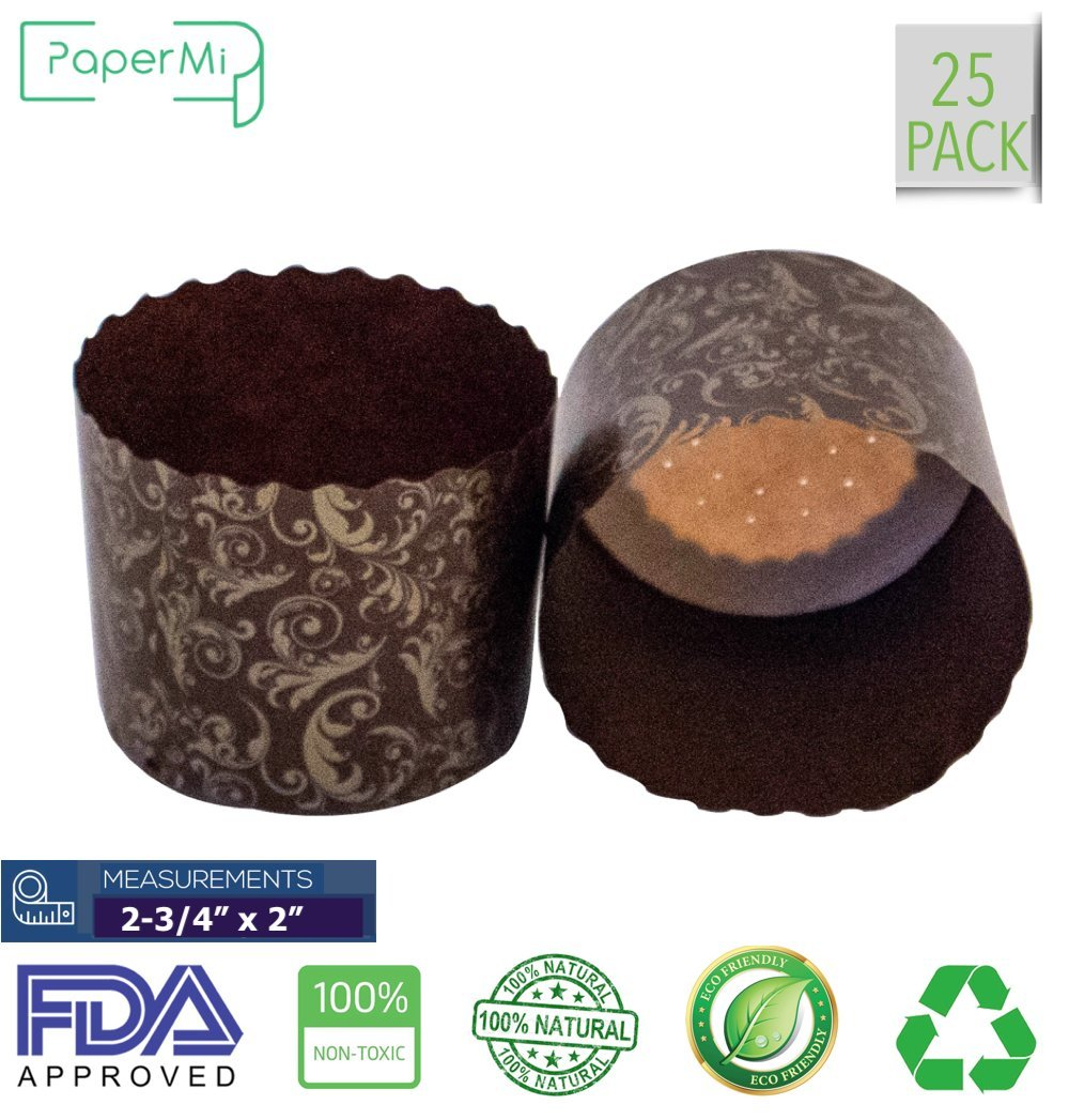 "Paper Muffin Cupcake Mold, Baking Cup Panettone mold 25ct, Non-Stick Mold All Natural FDA Approved (2-3/4"" x 2-3/8'')"