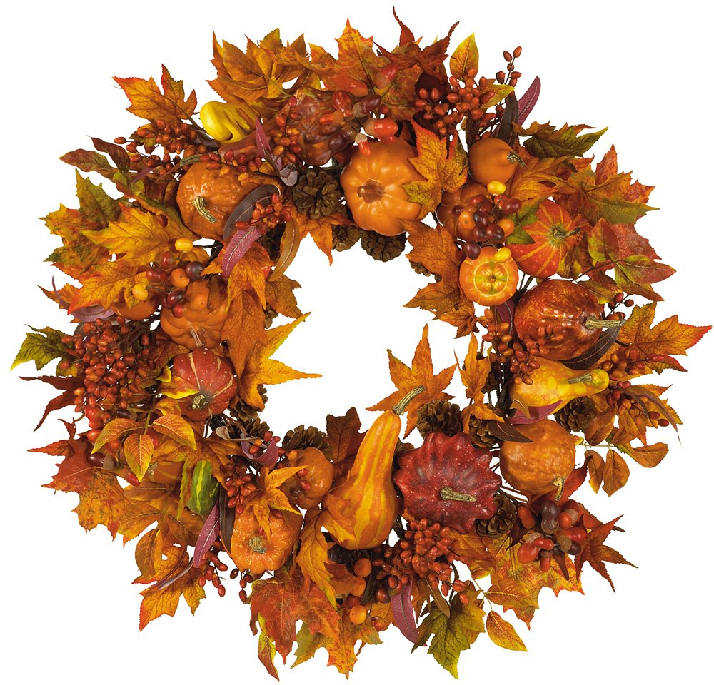 Amazon.com: Nearly Natural 4648 Harvest Wreath Fall, 28-Inch, Gold ...