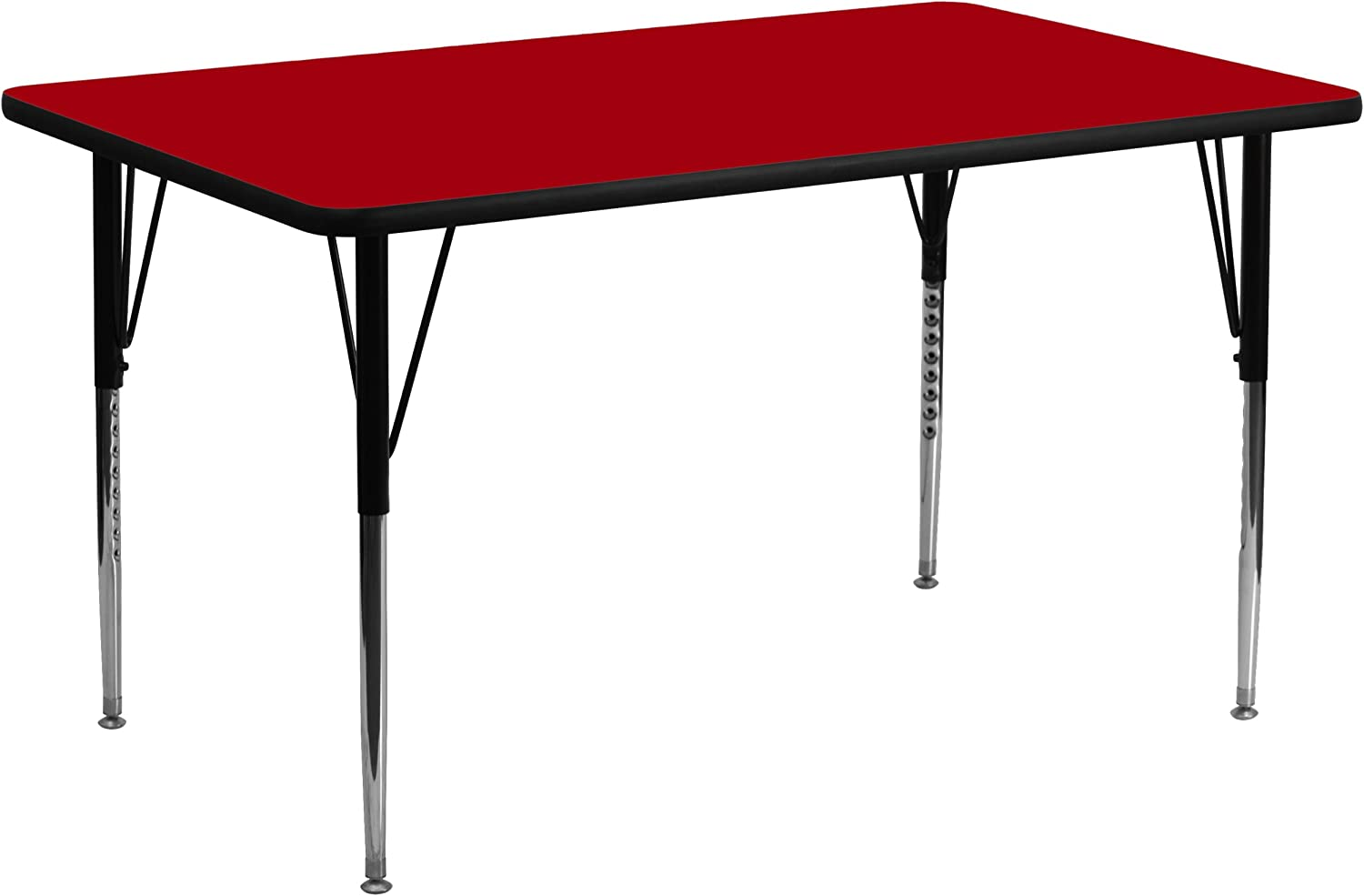 30''W x 72''L Rectangular Activity Table with Red Thermal Fused Laminate Top and Standard Height Adjustable Legs [XU-A3072-REC-RED-T-A-GG]