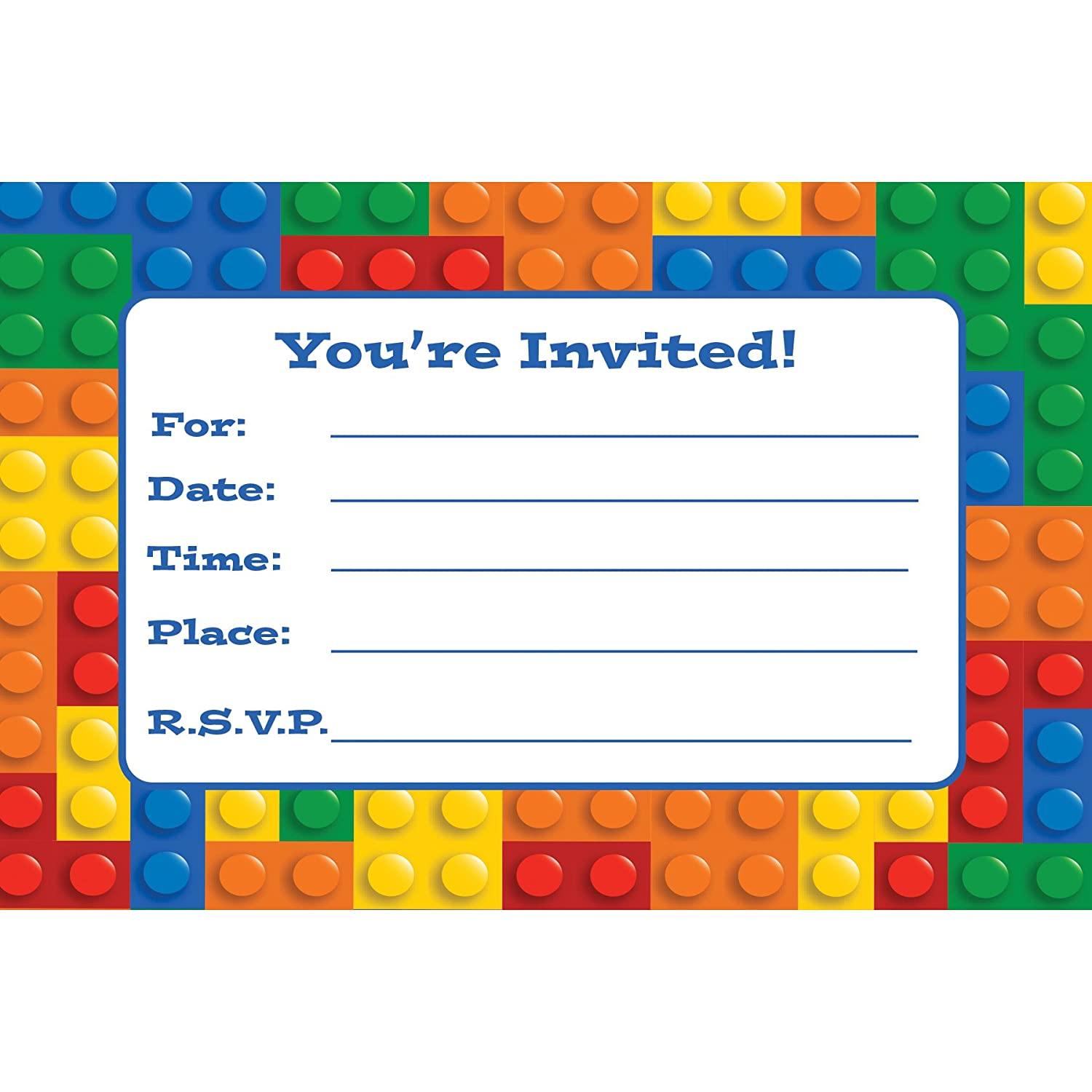 Building Blocks Party Invitations Pack Image 2