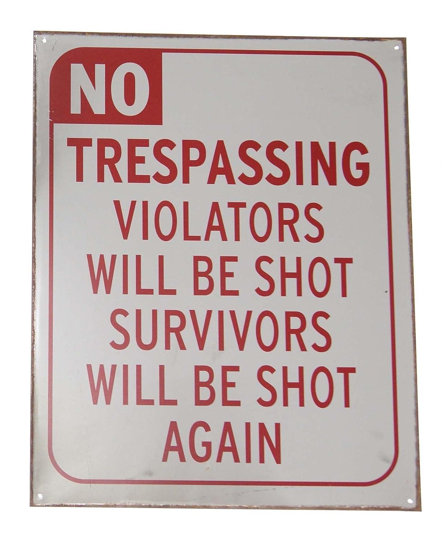 Distressed Look Metal Warning Sign 12 x 15 No Trespassing Novelty Vintage