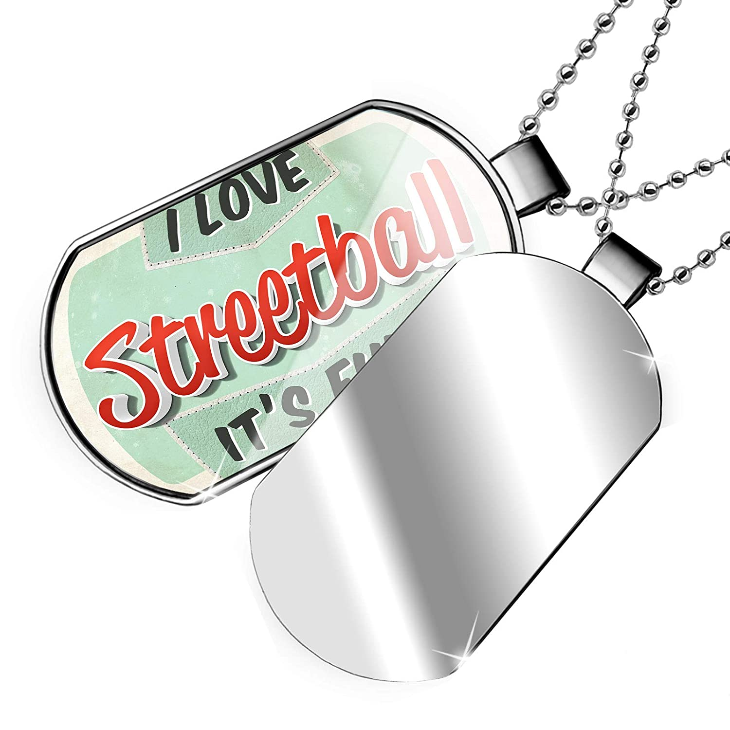 NEONBLOND Personalized Name Engraved I Love Street Ball Vintage Design Dogtag Necklace