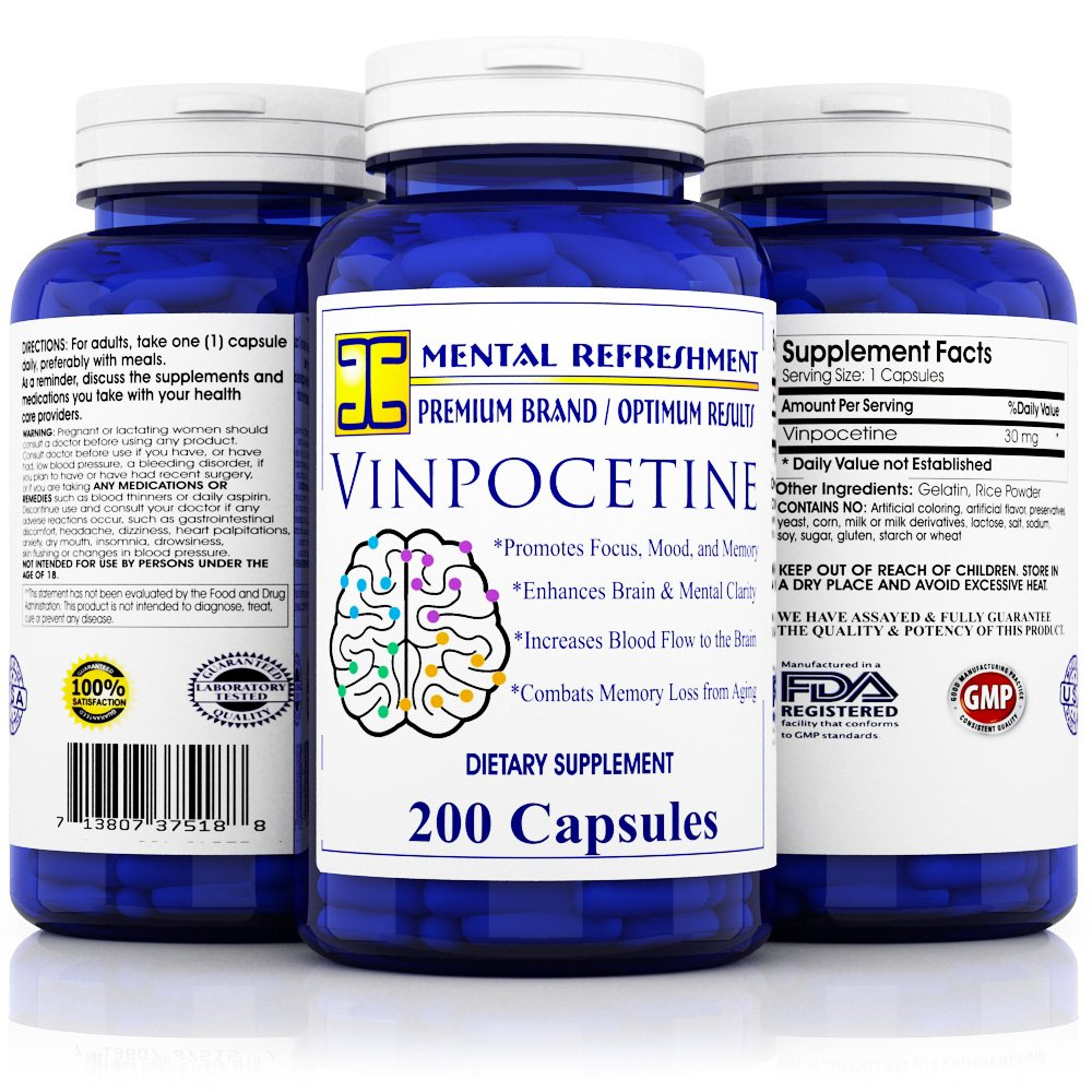 Pure Vinpocetine: 30 mg, 200 Capsules Max Strength, Best Value