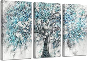 "Abstract Tree Canvas Wall Art: Silver Foil Blooming Tree Artwork Painting Print on Canvas for Living Rooms (26""x16""x3 Panels)"
