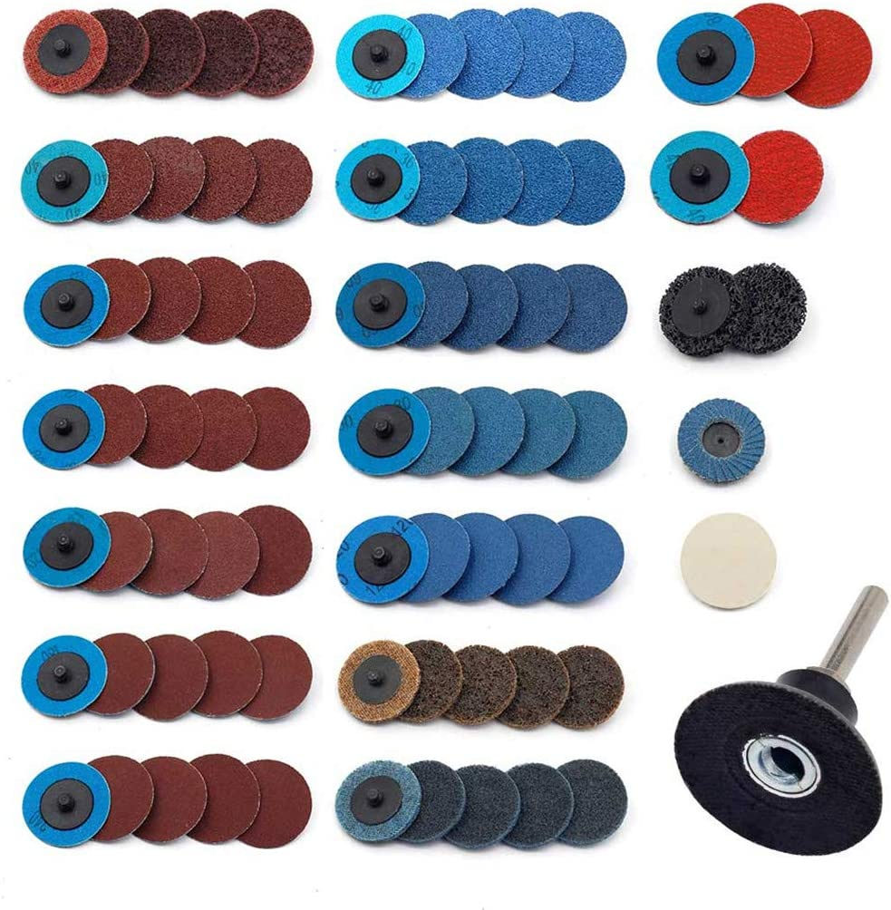 Sanding Discs Set 80 Pcs YUFUTOL 2 inch Roloc Quick Change Discs with a 1/4 inch Holder,Surface Conditioning Discs for Die Grinder Surface Prep Strip Grind Polish Burr Finish Rust Paint Removal 71Z3lyI5MrL